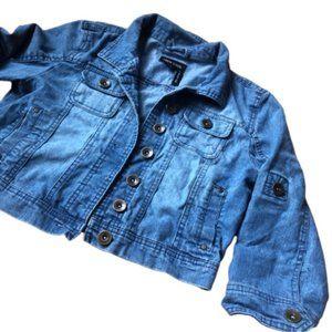 New Look Stretch Jean Denim Jacket Cropped Blue